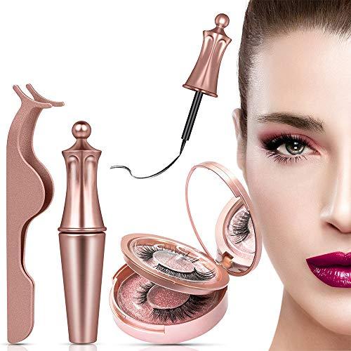 Cils Eyeliner Magnétiques, Magnetic Eyeliner Kit de Cils Magnétiques, 3D Réutilisables Sans Colle Faux Cils Naturels, Noir Stylo eyeliner imperméable