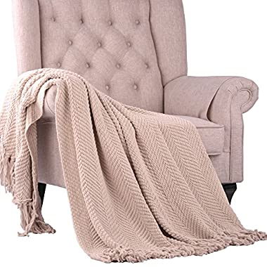 Home Soft Things BOON Knitted Tweed Throw Couch Cover Blanket, 60  x 80 , Oatmeal