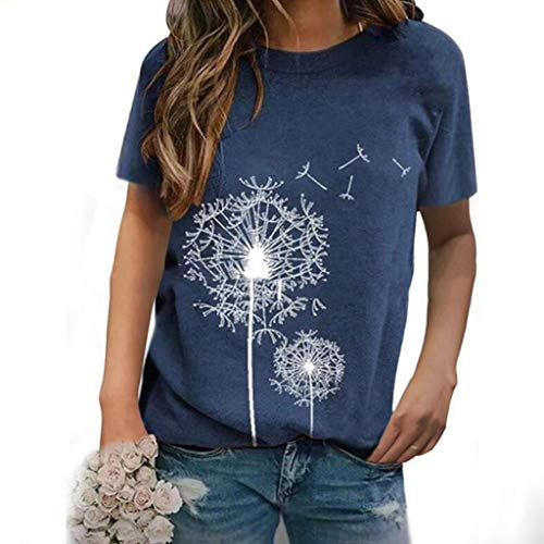 Auifor Damen Löwenzahn T Shirt, Plus Größe T-Shirt 5XL, lose Kurze Ärmel Casual T-Shirt Bluse Tops