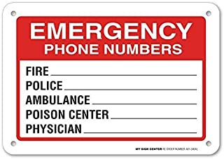 Nice Metal Road Sign Emergency Phone Numbers Safety Sign Fire, Police, Ambulance, Poison Center, Physician 12 x 8 inch Indoor and Outdoor Use