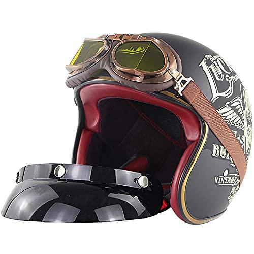 Casco jet abierto de media cara para motocicleta, casco anticolisión para hombres y mujeres 3/4 retro Harley motocicleta light cruiser Vespa (con visera solar UV50 + y 100% parabrisas) -Certificació
