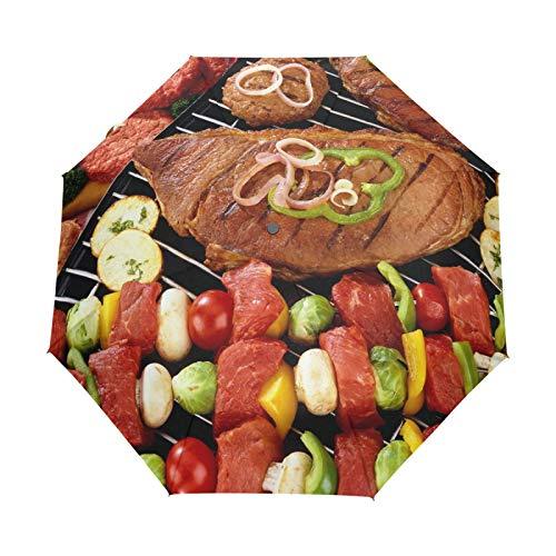 Paraguas de Viaje pequeño a Prueba de Viento al Aire Libre Lluvia Sol UV Auto Compacto 3 Pliegues Cubierta de Paraguas - Delicioso Filete Barbacoa maíz