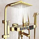 YDYG Thermostat Duschsystem, Brausebatterie mit Duschkopf und DREI-Funktionshandbrause Messing Duschsystem für die Badewanne Bar Dusche einstellbare Chrom,Gold,Fourthgear