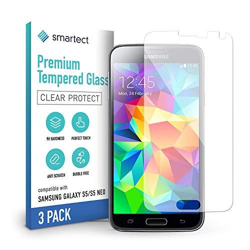 smartect Panzerglas kompatibel mit Samsung Galaxy S5 / S5 NEO [3 Stück] - Tempered Glass mit 9H Härte - Blasenfreie Schutzfolie - Anti Fingerprint Panzerglasfolie