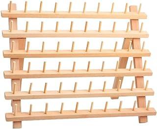 F Fityle Wooden Thread Rack Thread Holder Organizer 60 Spools