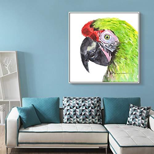 wZUN Lienzo de Estilo nórdico Pintura Acuarela Animales Carteles e Impresiones Loro Sala de Estar Mural imágenes decoración del hogar 60x60 Sin Marco