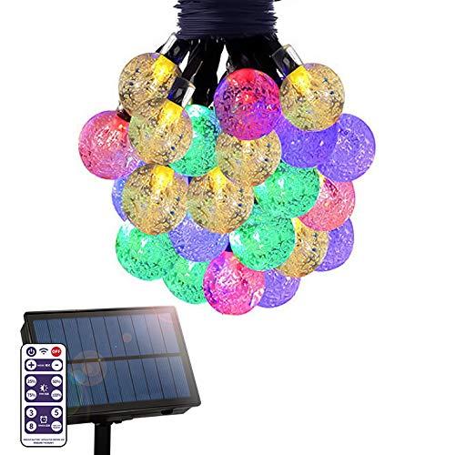 電光ホーム ソーラー LED イルミネーション ストレート バブルボール ライト [ 8パターン 点灯/リモコン付属 / 15m 100球 ] 屋外 防水 防雨 ガーデン DIY (レインボー)