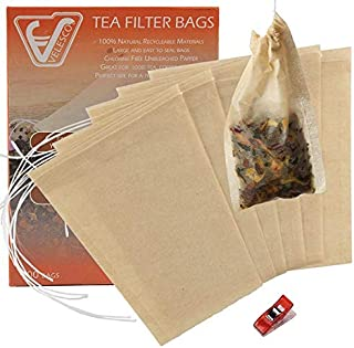 Velesco Tea Filter Bags Disposable Tea Infuser with Drawstring for Loose Leaf Tea with 100% Natural Sustainable Unbleached Paper 100pcs