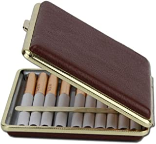 YZT Cigarette Case 20 Or So, Ultra-Thin Moisture-Proof and Pressure-Proof Metal Shell, Soft Cigarette Box Cover, Send Husband Boyfriend Creative Gift, Black/Brown, (Color : Brown)