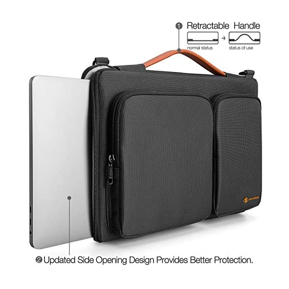 """A42-13 15 inch 5 wirecutter pick awards: standing out by incredible carry versatility and outstanding quality, our a42 series were appraised """"a great laptop bag"""" by wirecutter (a new york times company) superior protection: tomato laptop sleeve features two cornerarmors at the bottom corners to protect your laptop/tablet from drops and bumps during potential accident like the car airbag; soft fluffy interior and waterproof material exterior offers your device 360° protection from scratch, knocks, bumps or accidental dropping roomy space: features a main compartment for laptop or tablet, two sealed pockets to easily store and transport accessories such as your charger, adapter, mouse, cables, phone, wallet, etc. You will always be able to find what you need, when you need it"""