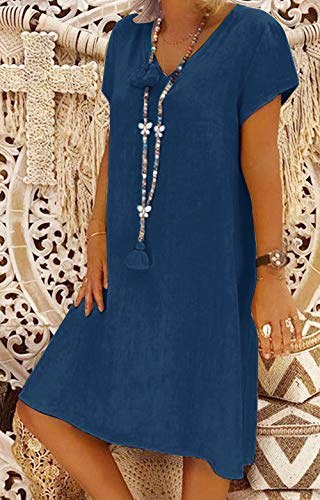 Yidarton Women's V Neck Summer Dress Short Sleeve Casual Midi Dress Chic Vintage Ethnic Sundress Solid Color Loose Linen Dress Without Accessories(Dark Blue,L)