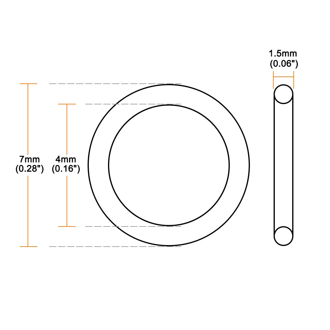 1mm ID VMQ Seal Rings Gasket 1.5mm Width Red Pack of 50 4mm OD uxcell Silicone O-Ring