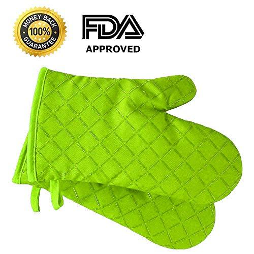 Premium Anti-Rutsch Ofenhandschuhe (2er Set) bis zu 240 °C - Silikon Extrem Hitzebeständige Grillhandschuhe BBQ Handschuhe - Backofen Handschuhe, zum Kochen, Backen, Barbecue Isolation Pads (Grüne)