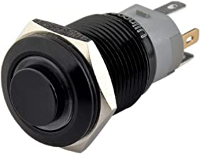 Ulincos Latching Pushbutton Switch U16F2 1NO1NC SPDT ON/Off Black Metal Shell with White LED Ring Suitable for 16mm 5/8