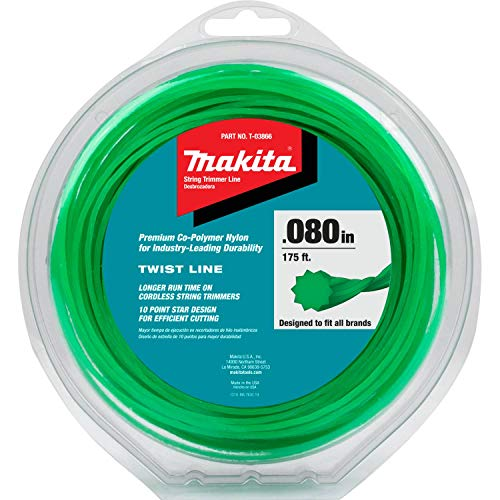 """Makita T-03866 Twisted Trimmer Line, 0.080"""", Green, 175', 1/2 lbs, Teal"""