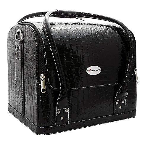 Nagel koffer, CROCO ZWART voor nagelstyliste, pedicure, schoonheidsspecialistes, kappers, kapsters, visagiste, etc, die ruimte biedt om materialen overzichtelijk op te bergen.