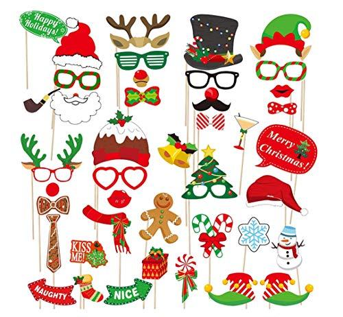 Dusenly 38 piezas de accesorios para fotomatón de Navidad DIY Fotografía Decoraciones Divertidas Selfie y Fotografía Pack para Navidad y Año Nuevo Suministros de Fiesta