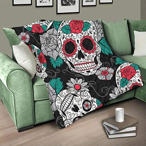 HMML Blanket Quilt Throw Calavera Red Rose Skull Halloween 3D Print Quilt Blankets for Sofa Bed Couch White 68x80 inch