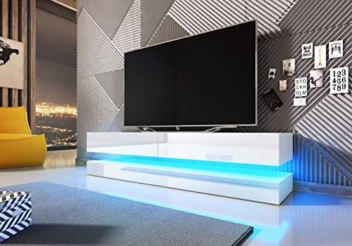 mobile tv bianco lucido WFL GROUP Mobile TV Pensile con LED - 140 cm - Mobile Sospeso per TV Fino a 60' - Bianco Lucido