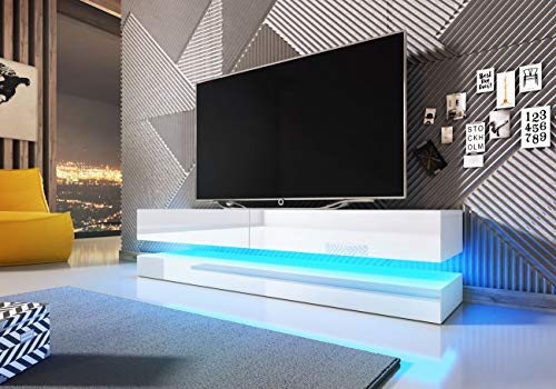 WFL GROUP Mobile TV Pensile con LED - 140 cm - Mobile Sospeso per TV Fino a 60' - Bianco Lucido