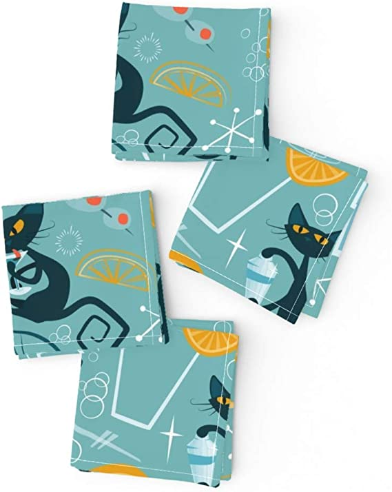 Retro Cat Red Modern Cats Cotton Dinner Napkins by Roostery Set of 2
