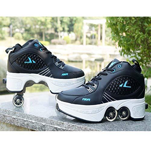 Pinkskattings@ Multifunktionale Deformation Schuhe Quad Skate Verstellbare Rollschuhe Skating Outdoor Sportschuhe 2-In-1-Mehrzweckschuhe Für Erwachsene,42
