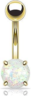 PSUM Unisexo Piercing En El Ombligo Acero Inoxidable Latón Chapado En Oro Harz Ópalo Imitación Purpurina 1.6mm x 10mm HBJ-...
