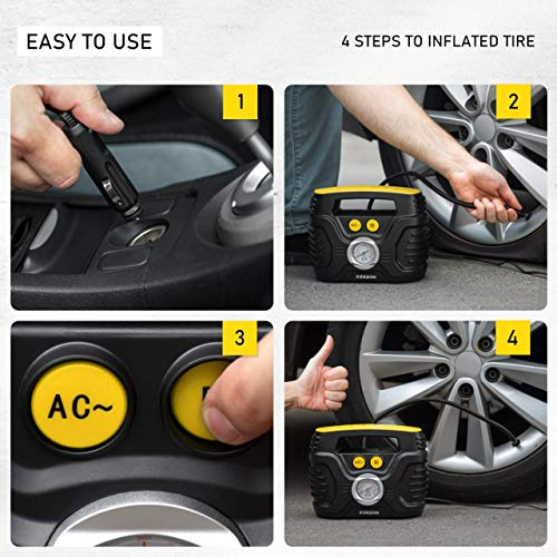 Kensun Durable Easy-to-Operate Dual Power Portable Tire Inflator Air Compressor for Use from Home Outlet (110V AC) & Car Cigarette Lighting Socket (12V DC)
