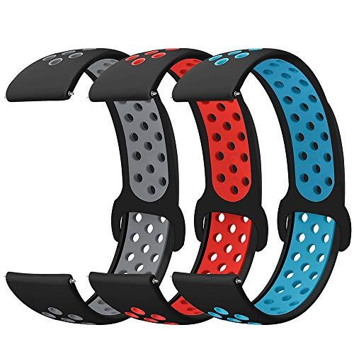 Younsea 20mm Cinturino Galaxy Watch Active/Active 2 40mm/44mm, Silicone Cinturino di Ricambio per Galaxy Watch 3 41mm/Gear S2 Classic/Gear Sport/Vivoactive 3