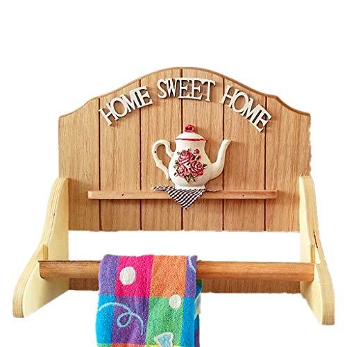 Badkamer handdoekhouder van hout, modern decoratief opbergsysteem wandrek, garderobe voor het ophangen van kleding handdoek