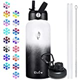 Elvira 32oz Vacuum Insulated Stainless Steel Water Bottle with Straw & Spout Lids, Double Wall Sweat-proof BPA Free Wide Mouth to Keep Beverages Cold For 24 Hrs or Hot For 12 Hrs-White/Black Gradient