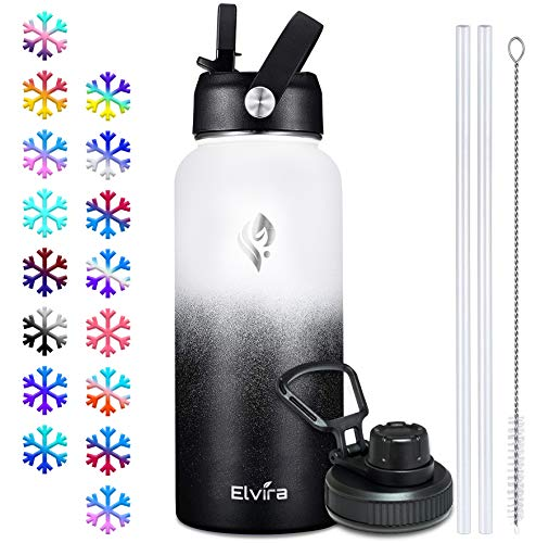 Elvira 32oz Vacuum Insulated Stainless Steel Water Bottle with Straw &...