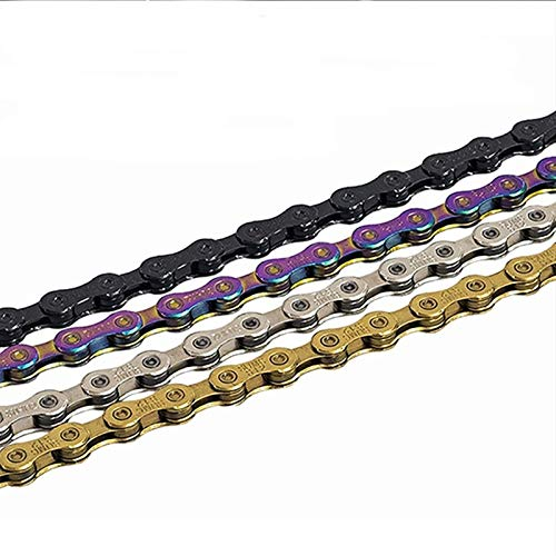 WSWJJXB Bicycle Chain 8S 9S 10S 11S 12-Speed MTB Road Bike Chain, Neon Light, Color, Black, Gold, 114/120/126L (Color : 10S Gold 120L)