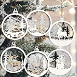 6pcs Christmas Farmhouse Rustic Ornaments Set for Christmas Tree Decorations Hanging 3D Glitter Reindeer Wood Tree Ornaments Round Wooden Christmas Tree Decorations Gift Tags