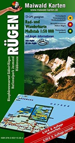 Rügen mit Hiddensee u. Angel-Informationen - Rad- u. Wanderkarte - Biosphärenreservat Südost-Rügen, Nationalpark Jasmund, Hiddensee = ... - Maßstab 1:50.000 - GPS geeignet)