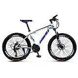 SCYDAO Adulto Bicicleta De Montaña, Bicicleta De Montaña De 26 Pulgadas 21/24/27/30 Velocidad Cuatro Opciones, La Suspensión Completa De Bicicletas De Montaña, Doble Disco De Freno,Azul,30 Speed