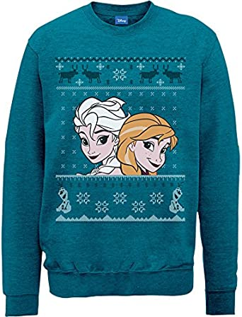Disney Frozen Christmas Elsa /& Anna Felpa Donna