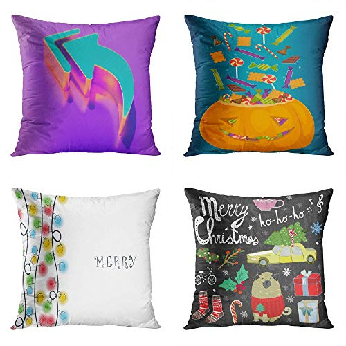 Menmek Throw Pillow Cover Decorative 18 x 18 Inch Pillow Case Candy Color Reply All Halloween Pumpkin Full Treats Cartoon Colorful Party Home Car Sofa Office Meeting Room Decor Cushion Pillowcase