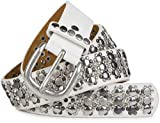 styleBREAKER edler Nietengürtel im Vintage Design, Nieten und Strass, kürzbar, Damen 03010052, Farbe:Weiß, Größe:105cm