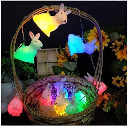 Xndryan Easter Bunny String Lights, Easter Rabbit String Lights USB Powered Colorful Flicker Bunny Night Lights Easter Decoration, Easter Gifts for Children