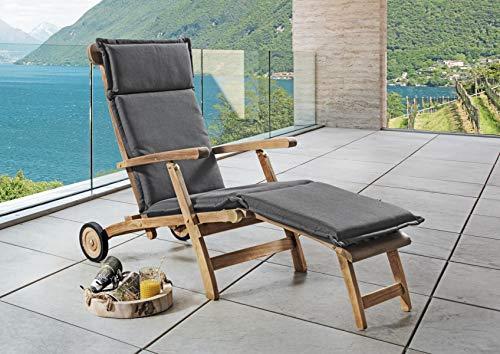 Destiny Premium Auflage für Deckchair Taupe Grau Deckchairauflage Polster Kissen by abziehbar & waschbar 300728