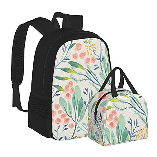 Botanical Garden School Bags Mochila con caja de almuerzo, combinación adecuada para adolescentes, niños, niñas, viajes, camping, juvenil, mochila