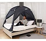 BESTEN Floorless Indoor Privacy Tent on Bed for Warm and Cozy Sleep Inside Drafty Room (Twin, Charcoal)
