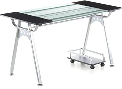 hjh Office 673896 Table Informatique Orion Graphite / Verre / Argent
