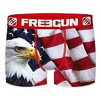 Boxer Officiel Freegun Homme en Microfibre Boxer Homme Freegun USA Flag Eagle - Magnifique Pygargue à tête blanche sur un fond de drapeau Américain 92% Polyester et 8% Elasthanne - Doublure 100% Coton Laver sur l'envers à 30 degrés