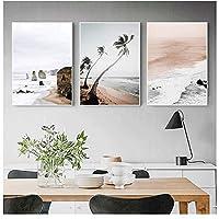 LIUYUEKAI 北欧沿岸の日の出自然風景壁キャンバスアートプリント空海夕日絵画風景スカンジナビアの装飾-40x50cmx3フレームなし