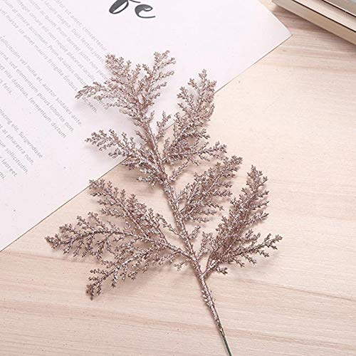 ZKTICHY 10PCS Artificial Pine Needles Branches Glitter Fake Plants Small Pine Twigs Stems Picks DIY Accessories for Christmas Tree Flower Arrangements Wreaths and Holiday Decor (Rose Gold)