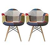 アイリスプラザ 椅子 ダイニングチェア イームズチェア リプロダクト 天然木脚 パッチワーク DN1002D 2脚セット