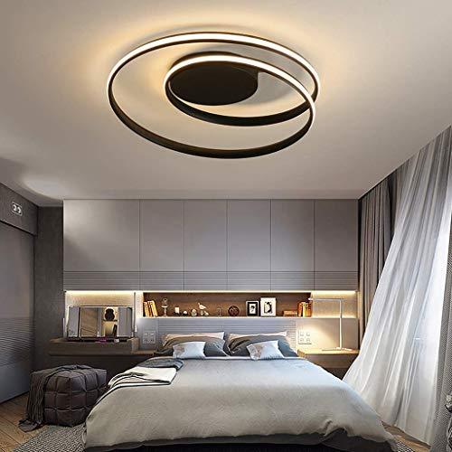 Moderna lampada da soffitto a spirale a LED design semplice ghirlanda in metallo acrilico ristorante soggiorno camera da letto patio lampadario lampada da soffitto 46 x 12 cm 50 W,Nero,warmlight