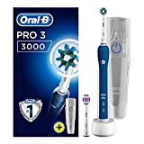 Oral-B Pro 3 3000 CrossAction Electric Rechargeable Toothbrush Powered by Braun, 1 Handle, 2 Modes: Daily Clean and Sensitive, Pressure Sensor, 2 Toothbrush Heads, 2 Pin UK Plug